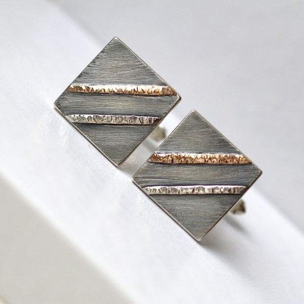 Textured Cufflinks with 9k Rose Gold