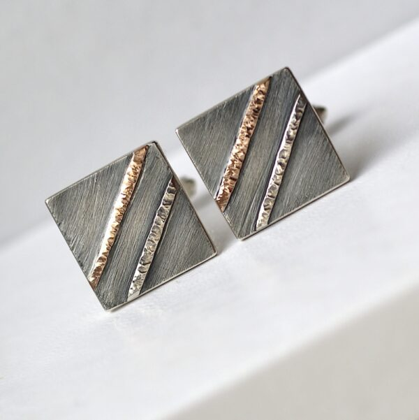 Textured Cufflinks with 9k Rose Gold: Sterling silver squares are textured and decorated with two hammered lines - first one is made from 9k rose gold, second one is silver.