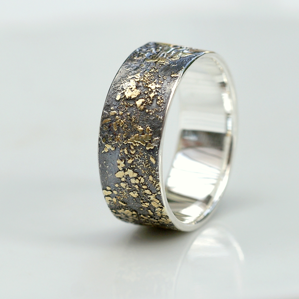 Gold Chaos 8mm - Rustic Mens Ring in Sterling Silver and 18k Gold