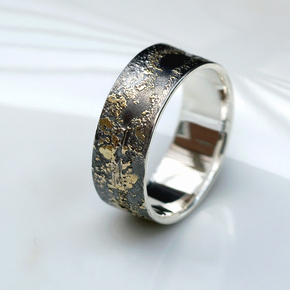Gold Chaos 8mm Rustic Mens Ring In Sterling Silver And 18k