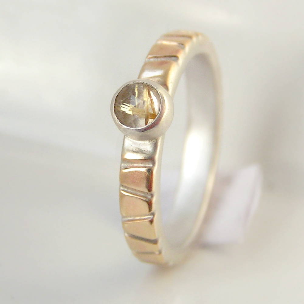 Lines in Gold - 3 mm Yellow Gold with Rutilated Quartz - unique two tone ring, simple, elegant and modern. It is made from two layers - sterling silver base and thin layer of solid yellow gold.