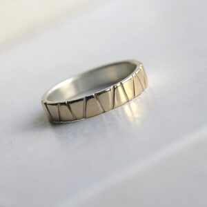 Lines in Gold - 5 mm Yellow Gold: Modern two tone wedding band, simple and elegant. It is made from two layers - sterling silver base and thin layer of solid yellow gold.