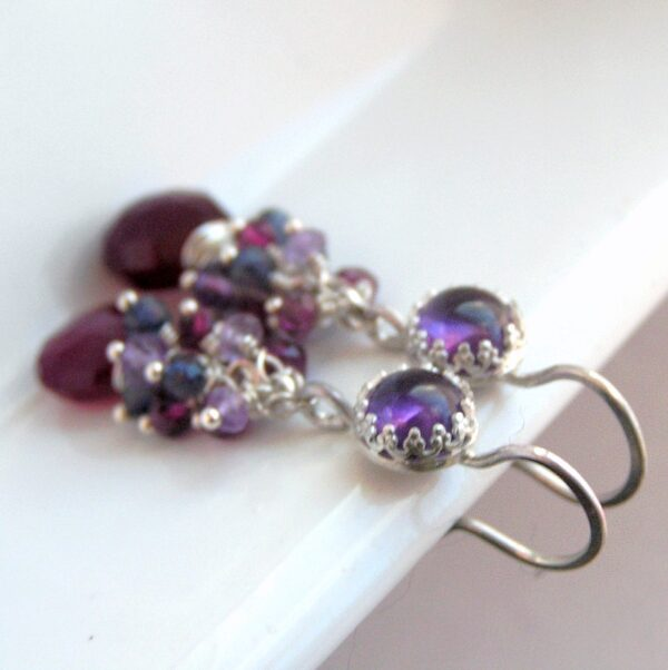 Berries: Sterling silver earrings with gemstones: Amethyst (lighter and darker shade), iolite, rhodolite garnet, wine red chalcedony.