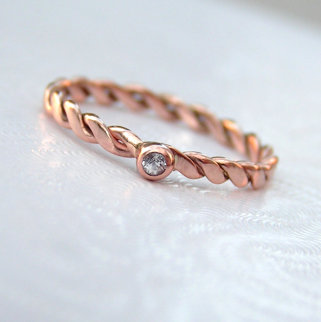 Dainty White Sapphire 9k Rose Gold Ring Anna Rei Jewellery