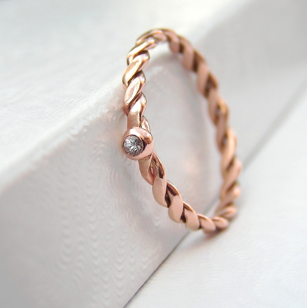 Dainty White Sapphire 9k Rose Gold Ring Anna Rei Jewellery