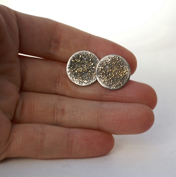 Gold Chaos Cufflinks: Oxidized sterling silver and 18k yellow gold cufflinks.