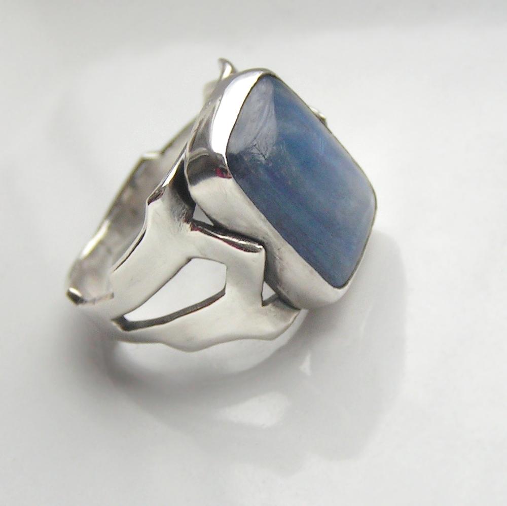 Indigo: Sterling silver statement ring with indigo blue kyanite cabochon.