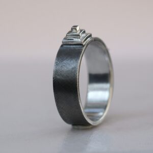 Pyramid Ring: Hand-fabricated from scratch, textured finish (rough cross satin) with shiny step pyramid.
