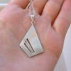 Quadrilateral: Sterling silver minimalist geometric pendant necklace.