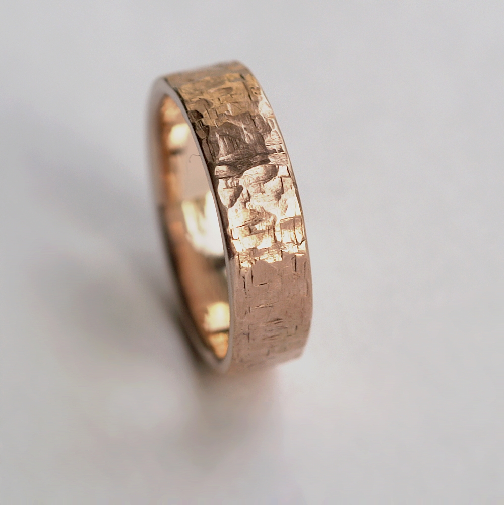 b93e107f606a9 Rock Texture 9k Rose Gold Ring – Anna Rei Jewellery