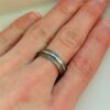 Textured - 6mm Silver: Simple and elegant ring, featuring contrast of oxidized texture and polished hammered strip in the middle.