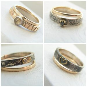 Skinny 9k Yellow Gold Band Combinations: Simple thin solid 9kt gold band. Set with other gold accented rings.