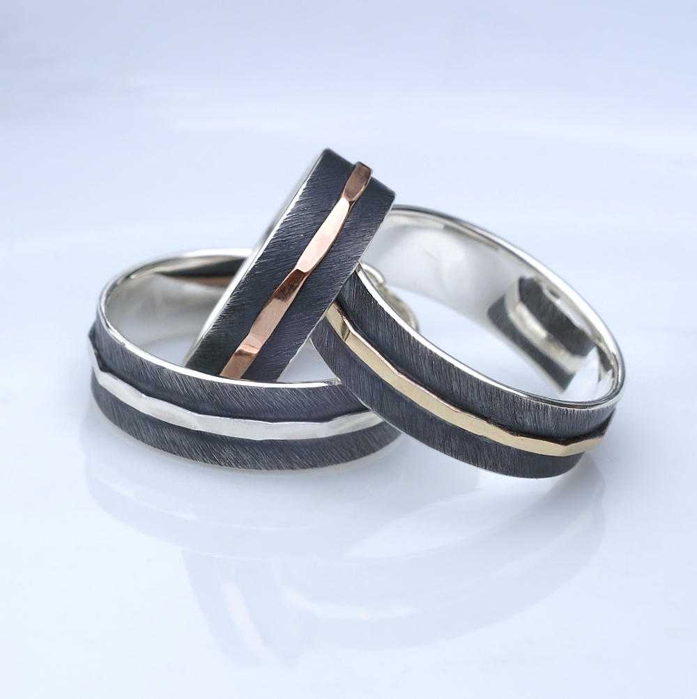 Textured - 6mm Mix: Simple and elegant rings, featuring contrast of oxidized texture and polished hammered strip in the middle.