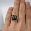 Turritella Fossil Ring: Sterling silver statement ring with cushion shaped turritella agate.