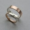 Golden Ratio Set - 9k White Gold + Rose Gold: A set of 5 mm and 3 mm Wedding bands made of 9k white gold and 9k rose gold in golden ratio. Perfect rings for math lovers, geeks, scientists or artists.