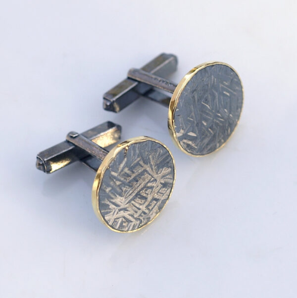 Hammered Cufflinks with 18k Gold Edge: These cufflinks are made from thick hammered sterling silver and solid 18k yellow gold thin sheet.