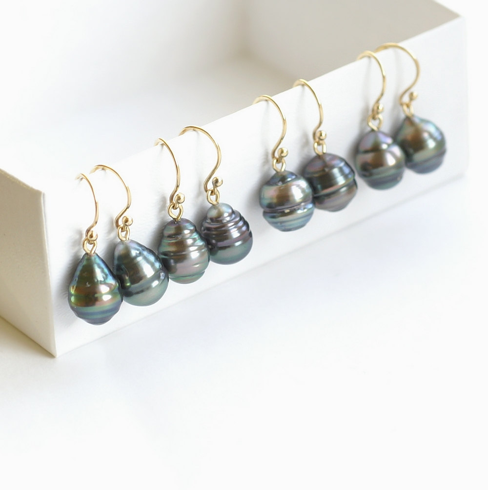 Solid 14k Gold Earrings with Black Tahitian Pearls – Anna Rei ...