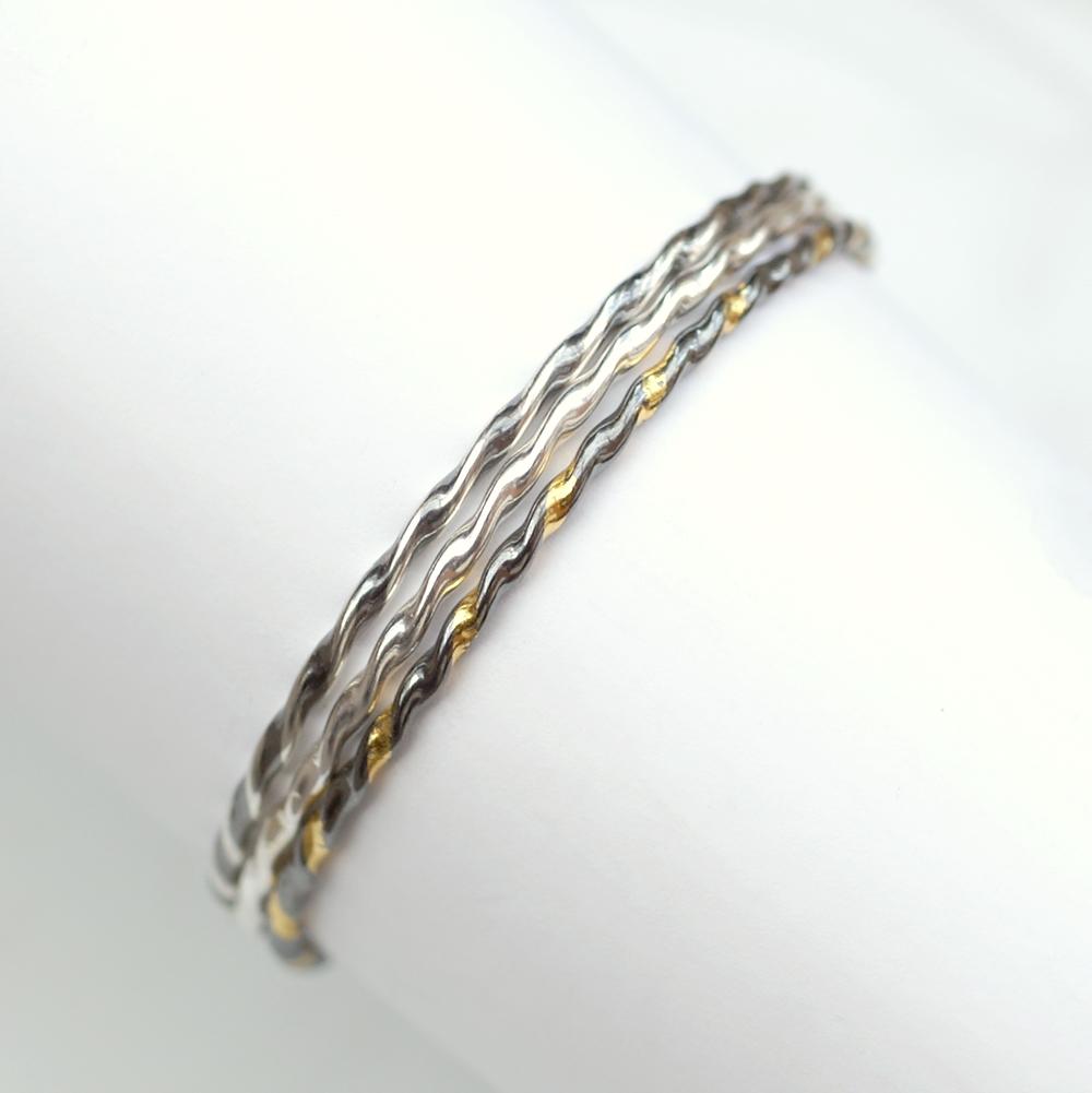 Twisted Silver Bracelet – Oxidized – Anna Rei Jewellery