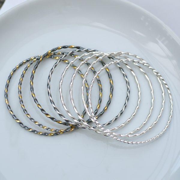 Twisted Silver Bracelets Mix: A mix of Simple twisted bangle bracelets.