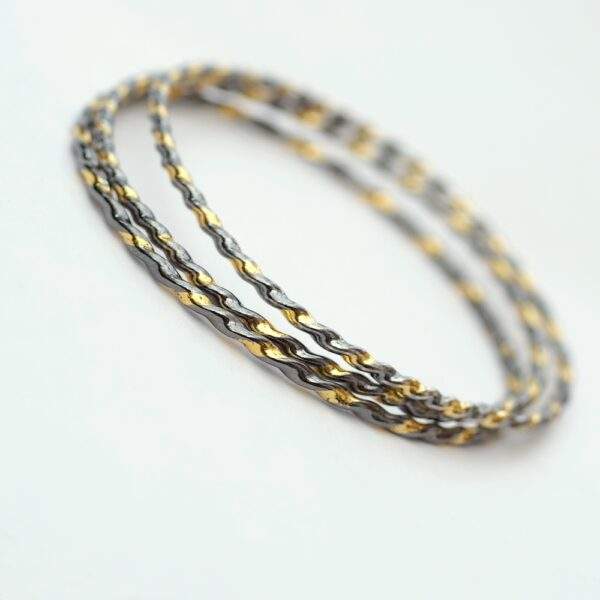 Twisted Silver Bracelet – Oxidized with Keum-boo
