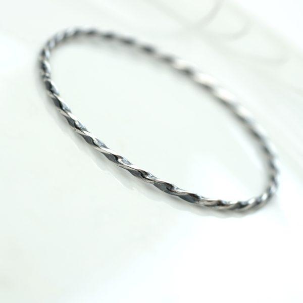 Twisted Silver Bracelet – Oxidized