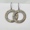 Gold Chaos Hoops - Two Tone 18k Gold and Sterling Silver Dangle Hoop Earrings