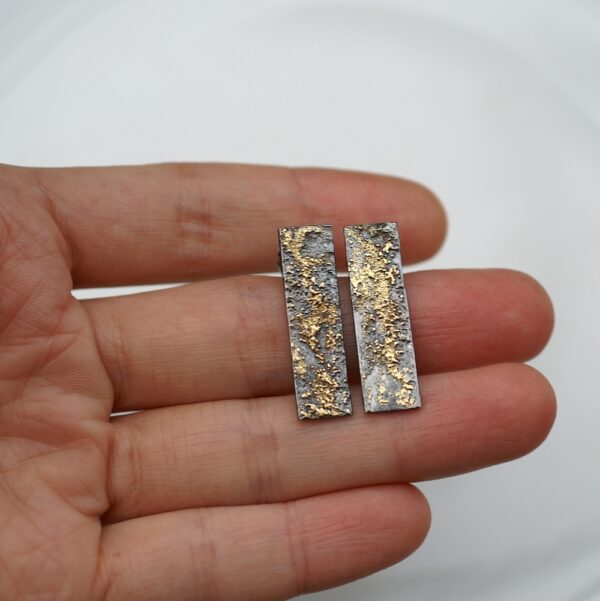 Gold Chaos Rectangles - 18k Gold and Sterling Silver Mixed Metal Unique Artisan Post Earrings