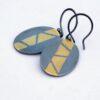 Keum-boo Earrings - Gold on Oxidized Sterling Silver Dangle Earrings, Discounted