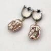 Pink Baroque Pearl Earrings, Sterling Silver with Gold Details, One of a Kind