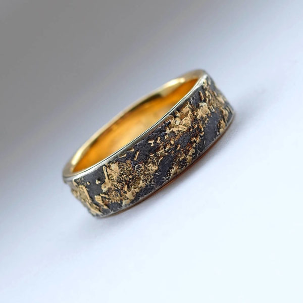 Gold Chaos with Gold Lining - Unique ring with oxidized silver base, rustic gold texture and shiny gold inside.