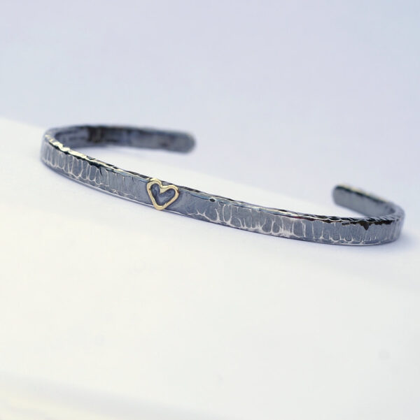 Gold Heart Cuff Bracelet - sterling silver textured bracelet with 18k gold heart