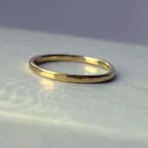 Thin 18k Yellow Gold Wedding Band - Simple dainty yellow gold wedding ring made of solid 18k yellow gold, shiny finished.