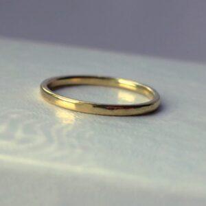 Thin 18k Yellow Gold Wedding Band - Simple dainty yellow gold wedding ring made of solid 18k yellow gold, shiny finished.