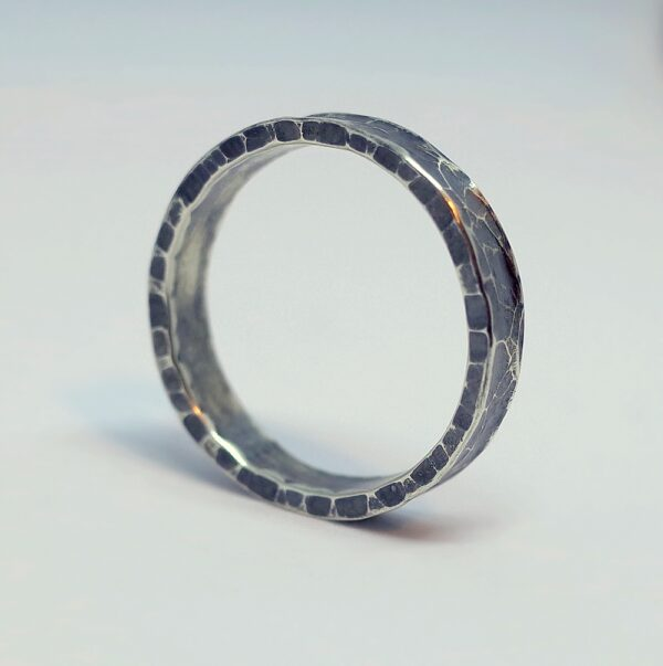 Hammered Ring - Sterling silver hammered band ring of slightly concave or anticlastic shape, interesting from all angles when worn.