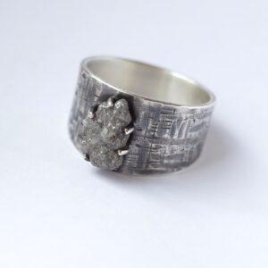 Huge Rough Diamond Ring - Sterling silver mens engagement ring with a huge rough uncut diamond.