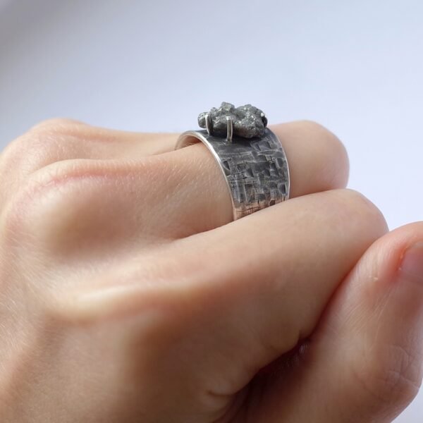 Huge Rough Diamond Ring - Sterling silver mens engagement ring with a huge rough uncut diamond.