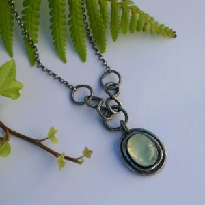 Rustic Prehnite Necklace - Sterling silver one of a kind necklace with green prehnite. Rustic nature inspired style, handmade using metalsmith techniques.