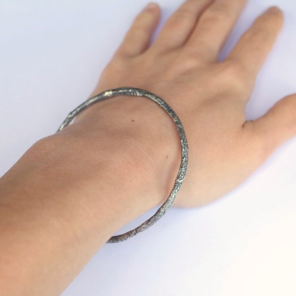 Rustic Round Bracelet - Sterling silver bangle textured with reticulation technique.