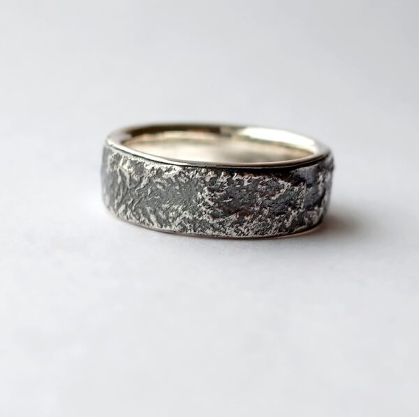 Rustic Ring with Silver Lining - One of a kind sterling silver ring - rustic, wide and heavy. Perfect gift for man who don't like traditional jewellery and of course for women too (if the size fits).
