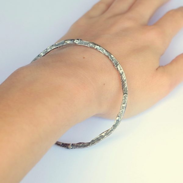 Rustic Square Bracelet - Sterling silver bangle textured with reticulation technique.