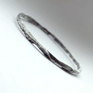 Rustic Triangle Bracelet - Sterling silver bangle textured with reticulation technique.