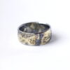 Unique Sterling Silver Men's Ring with Molten 18k Gold in Rustic Style.Nice men's ring or wide unisex band, could be a wedding band or just a special gift for special someone.