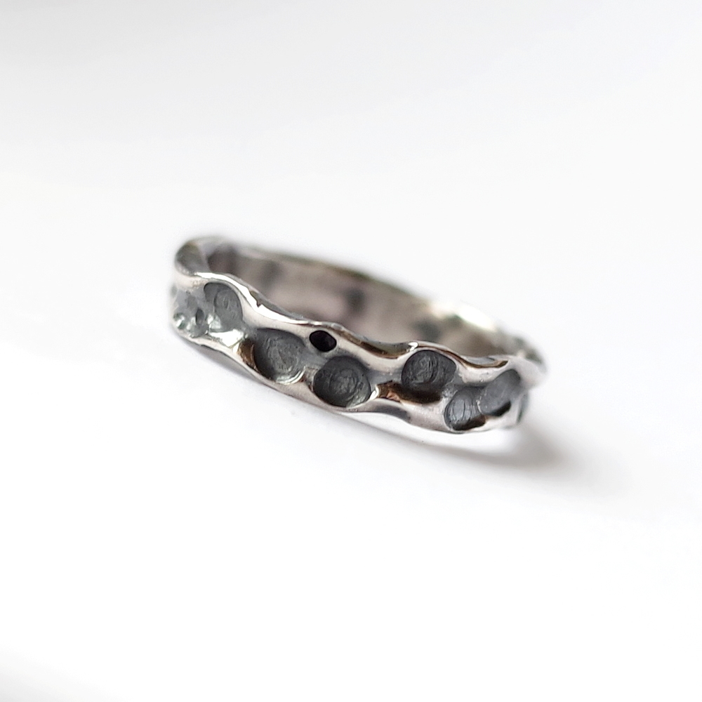 Bubble Ring - Artisan sterling silver bubble shaped irregular ring for women.
