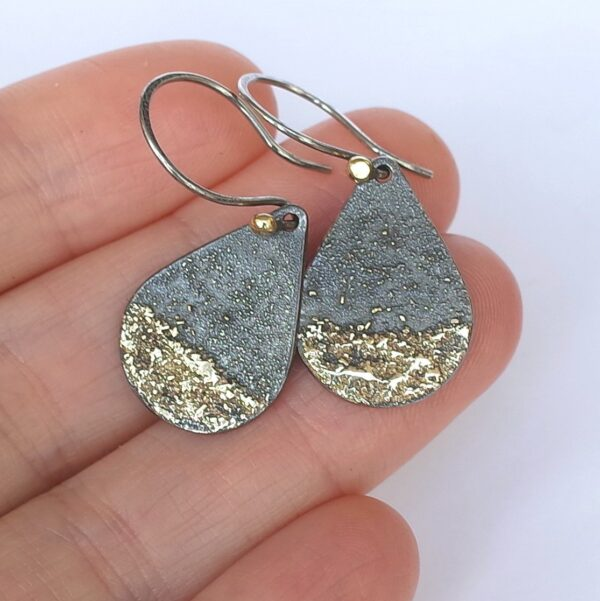 Gold Chaos Dipped - Oxidized sterling silver and 18k gold drop earrings