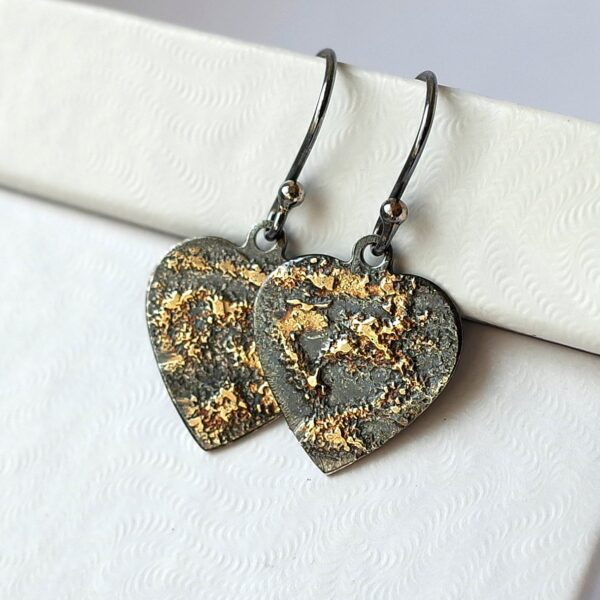 Gold Chaos Hearts - Oxidized sterling silver and 18k gold heart earrings