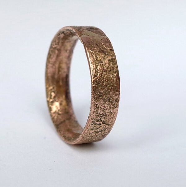 Rustic Gold Engagement Ring in 9k Rose Gold - One of a kind mens ring in size 9.5
