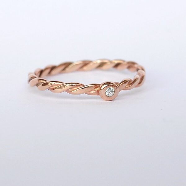 Simple Rose Gold Engagement Ring with White Sapphire