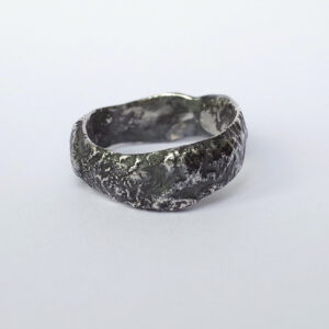 Wide Rustic Ring - Sterling Silver One of a Kind Men's Ring, Size 9