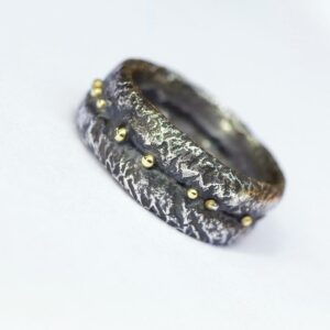 Wide Rustic Ring with Gold Dots - Chunky Oxidized Silver Men's Ring with 18k Gold, Size 10.5