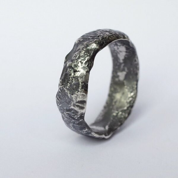 Wide Rustic Ring - Sterling Silver One of a Kind Men's Ring, Size 10